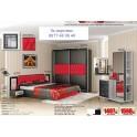 Спалня с тапицерия Белона в червено и черно