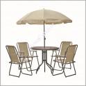 Маса четири стола и чадър за градина
