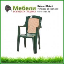 Зелени пластмасови столове за заведения с подлакътници