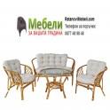 Градински комплект - диван, две кресла и маса - от ратан и възглавници