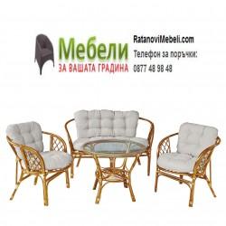 Елегантен градински комплект - диван, две кресла и маса - от ратан и възглавници