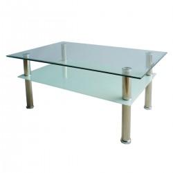 Холна маса с горен и долен стъклен плот - бял или черен матиран
