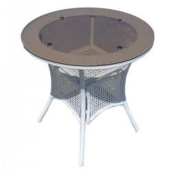 Кръгла градинска маса от бял ратан, стъклен плот